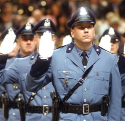 Photograph of police recruits taking the oath of honor