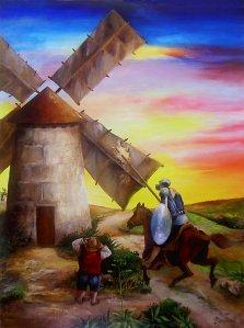 Don Quixote fighting a windmill (19K)