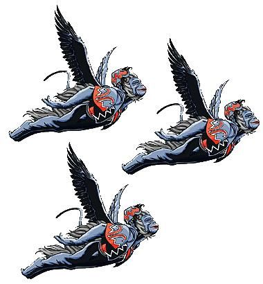 Three flying monkees