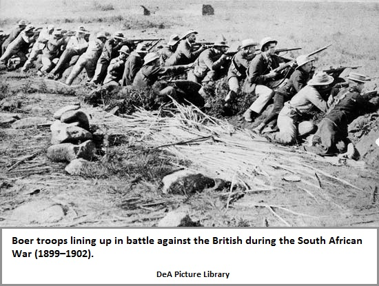 Boer troops line up in battle against the British