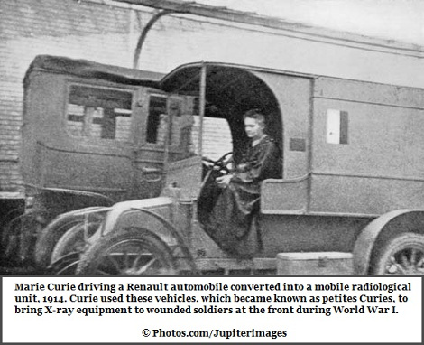 Renault automobile driven by Marie Curie in 1914