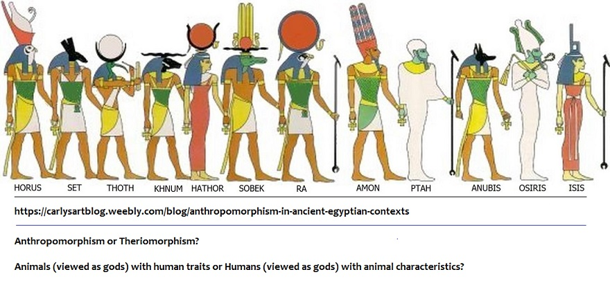 Ancient Egyptian gods with animal heads and human male bodies