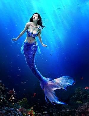 A modern view of a female mermaid