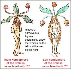 The placement of male and female images in the typical position