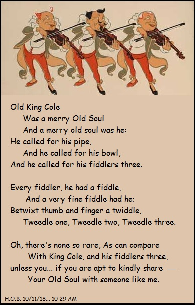 Old King Cole rhyme revised