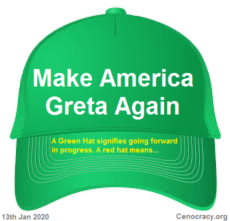 A green hat symbolizes a step forward in progress, a red halt symbolizes a halt to progressive thiniking.