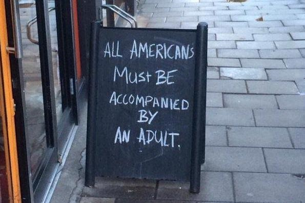 Sign in front of a London Coffee shop  (73K)