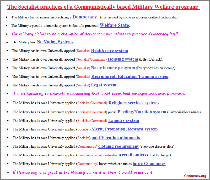 Military benefits list in an image format.