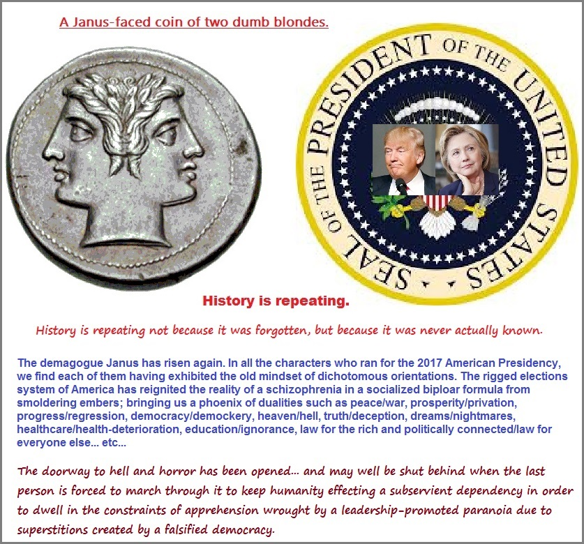 Janus-faced coin of the American Government