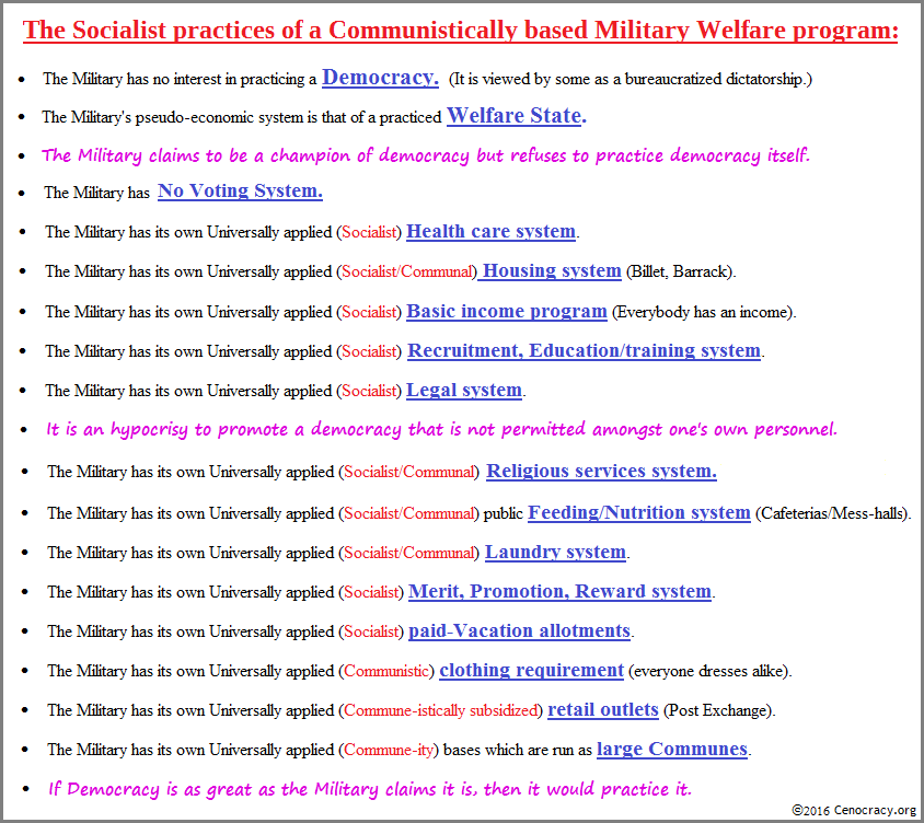 The Military denoted as a Communist-Socialism Welfare State