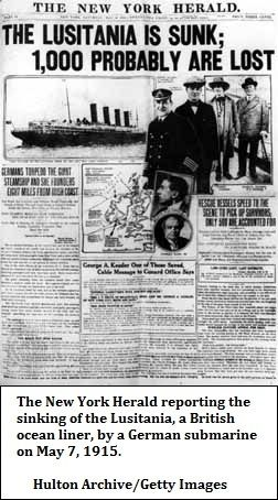 News about the Lusitania sinking