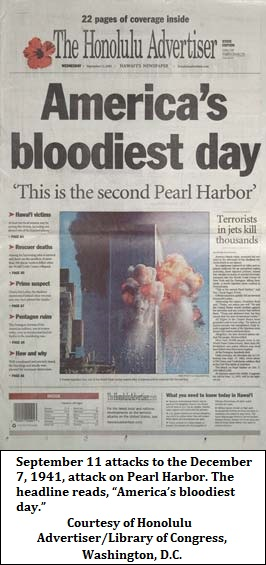 News headline about Twin Towers attacks