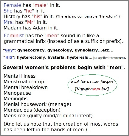 The language of men imposed on the female psyche