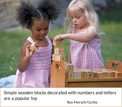 Children with building blocks